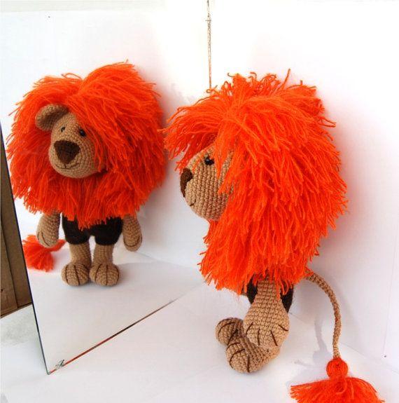 crocheted lion, autumn orange amigurumi animal, woodland ...