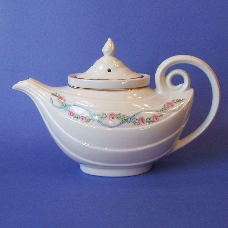 Vintage hall china wildfire aladdin teapot oval infuser gold trim - Aladdin teapot ...