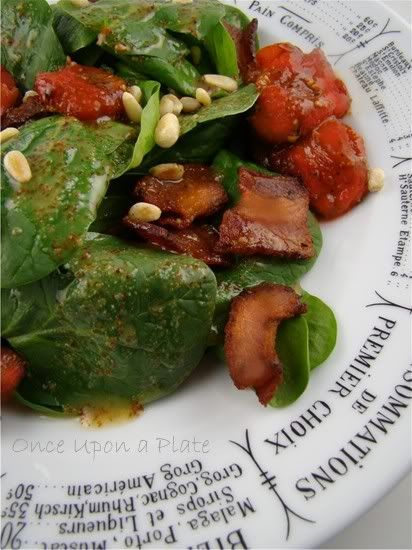 Spinach Salad with Roasted Cherry Tomatoes, Bacon and Pine Nuts