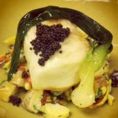 Poached Halibut with Caviar and Baby Potato Salad Recipe