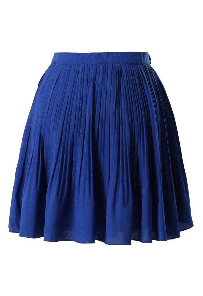chicwish chiffon pleated skirt in blue chicwishlist