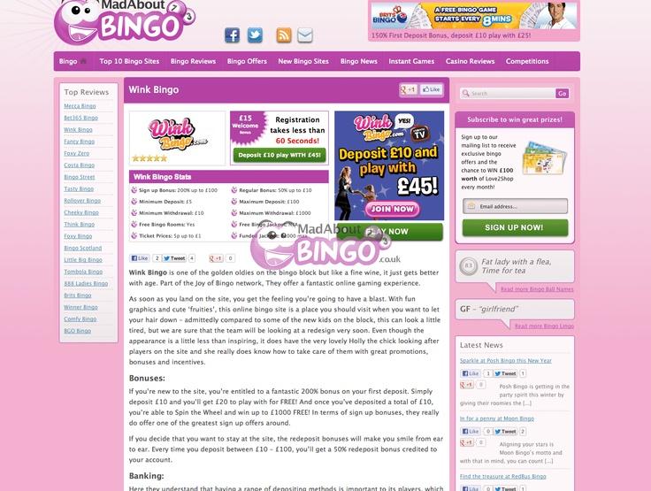 wink bingo login