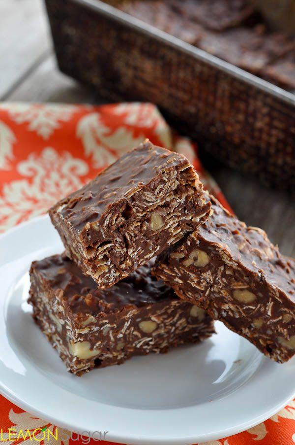 Healthy(er) Chocolate Oatmeal No-Bake Bars