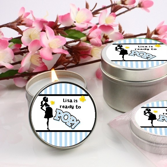 ready to pop blue baby shower candle favors