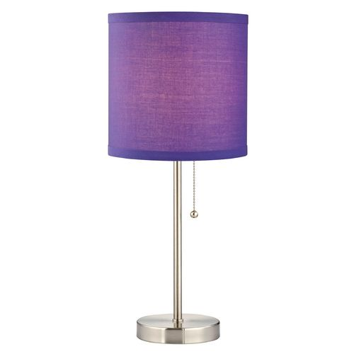Design classics lighting pull chain table lamp with purple drum shade