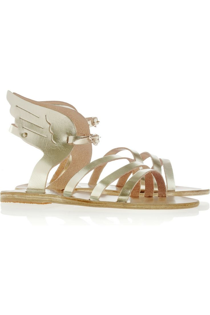 ancient greek sandals. Ikaria metallic leather wing sandals
