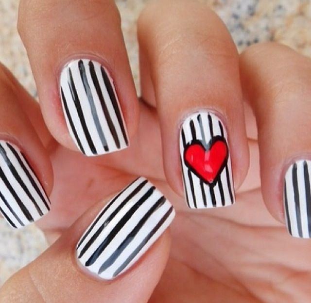 valentines day nails simple