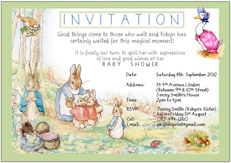 invitation to a peter rabbit baby shower peter rabbit pinterest