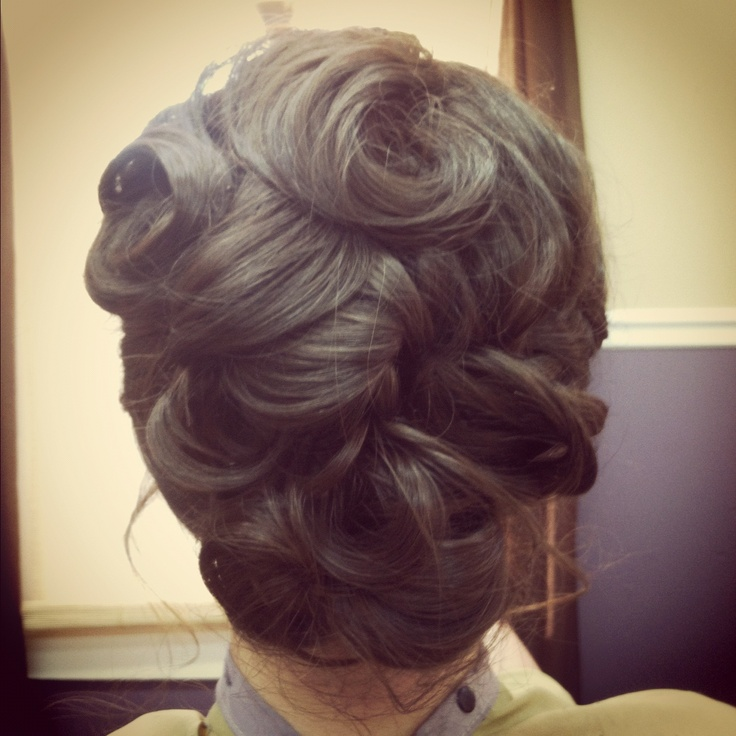 Pin Curl Updo Hairstyles Pin curl updo.