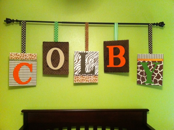 Scrapbook paper Mod Podge, ribbon, fabric, staplegun, canvases and a curtain rod...