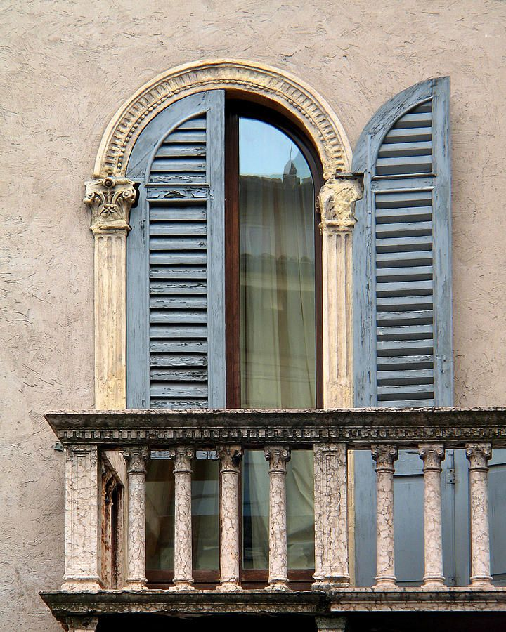 blue shutters and balcony in verona italy print by greg
