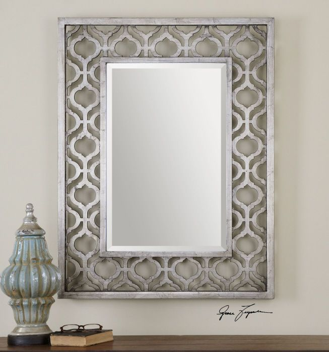 Decorative antiqued silver wall mirror beveled large 40 for Miroirs decoratif