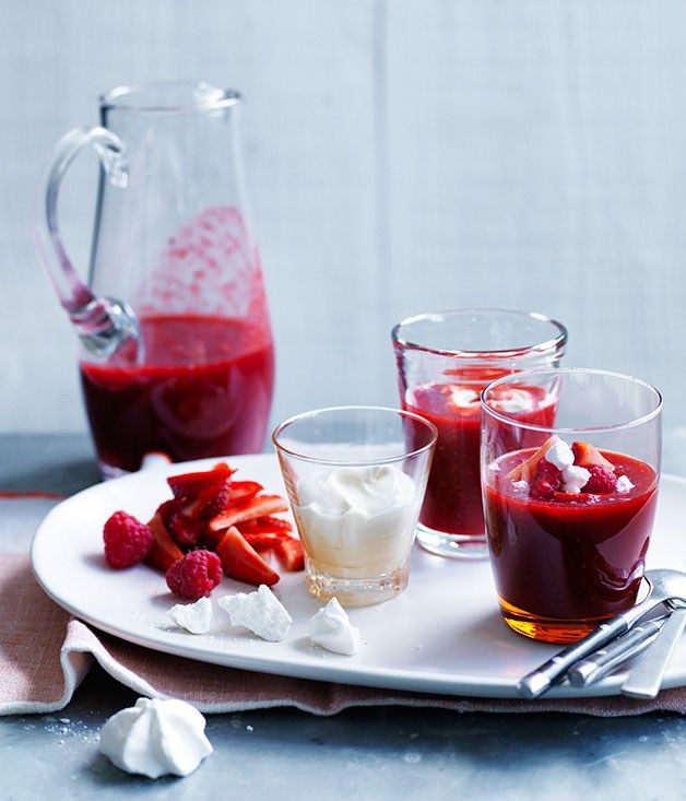 berry-rosewater soup with vanilla crème fraîche recipe | Summer ...