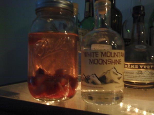 Strawberry infused unaged whiskey. Both ingredients are from NH!