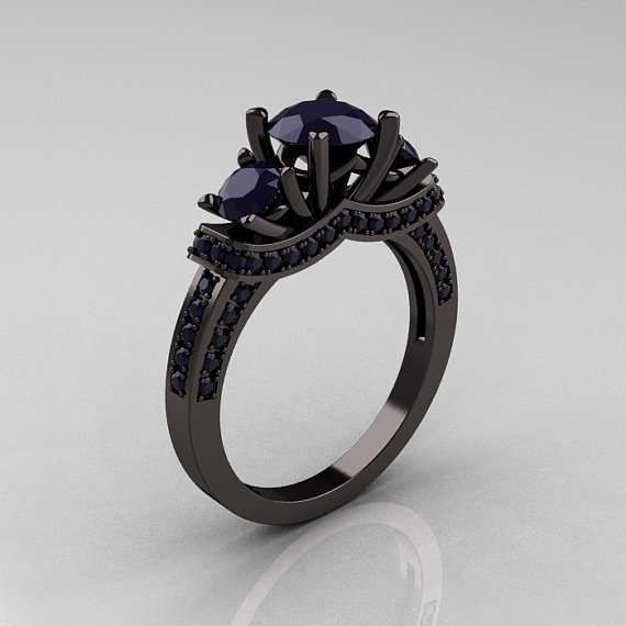 French 14K Black Gold Three Stone Dark Blue Sapphire Wedding Ring En…