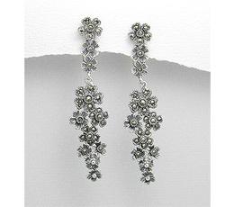 Cercei lungi flori din argint cu marcasite