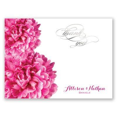 Posh Peonies Foil Thank You Card and Envelope by David's Bridal. #thankyoucards #bridalshower #weddings #davidsbridal