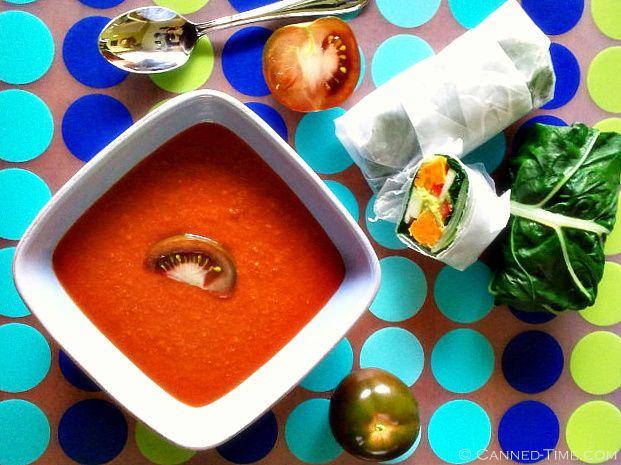 Sweet Potato stuffed Swiss Chard Wraps w/ Spicy Tomato Soup - From ...