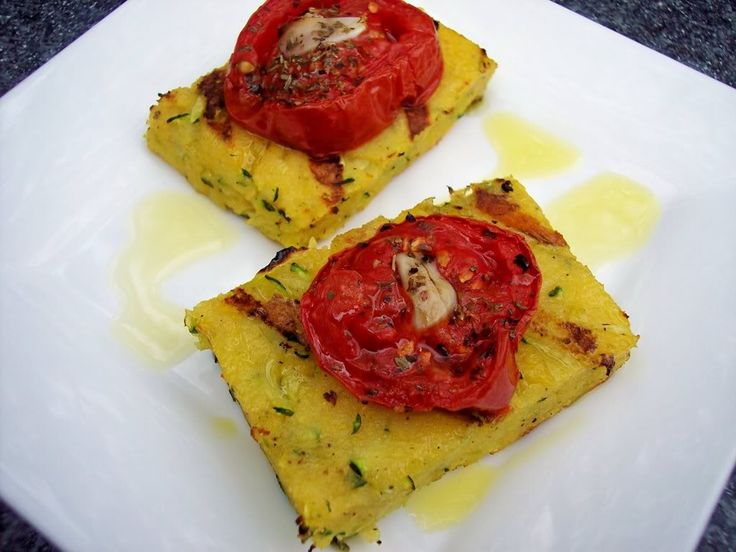 grilled polenta with zucchini and roasted tomatoes | Gluttony ...