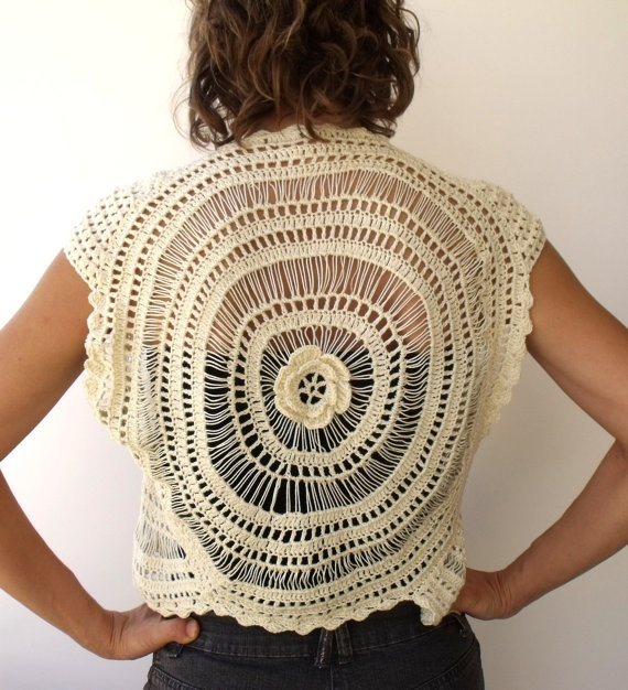 Unusual crochet circle vest