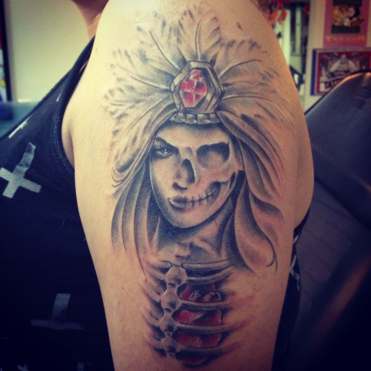 Big CHECHO tattoos Aztec warrior and princess Nittis tatt