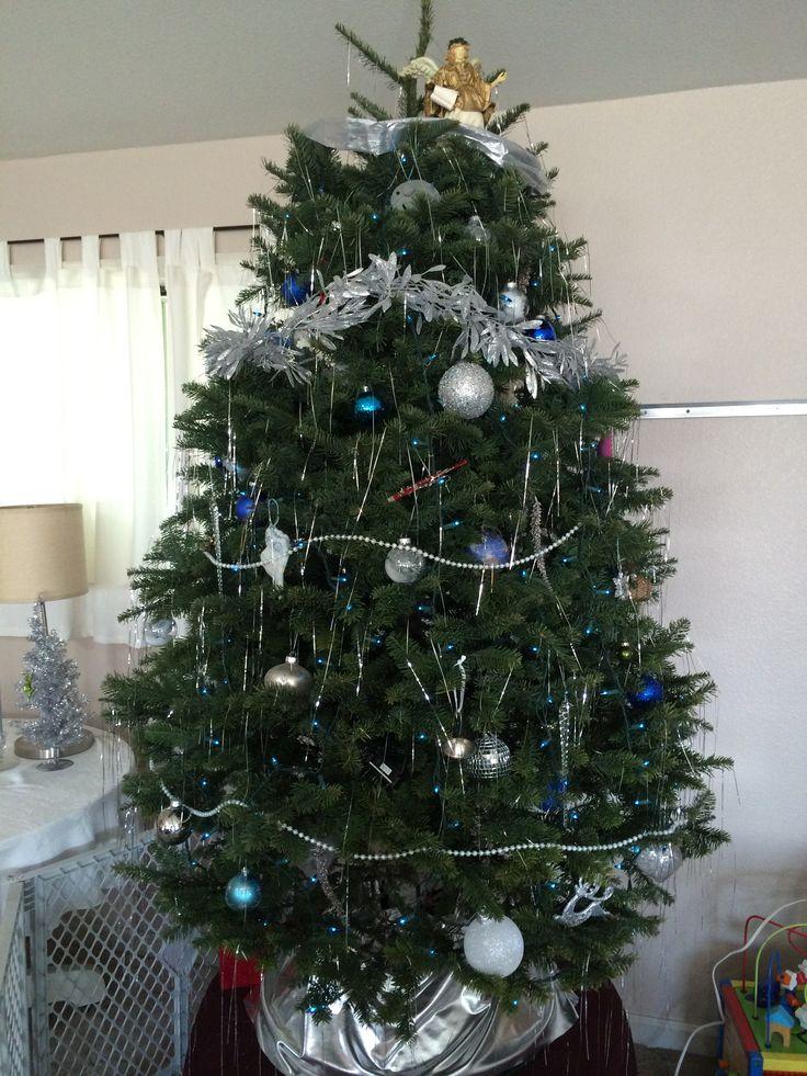 Blue Silver And White Christmas Tree Seasonal