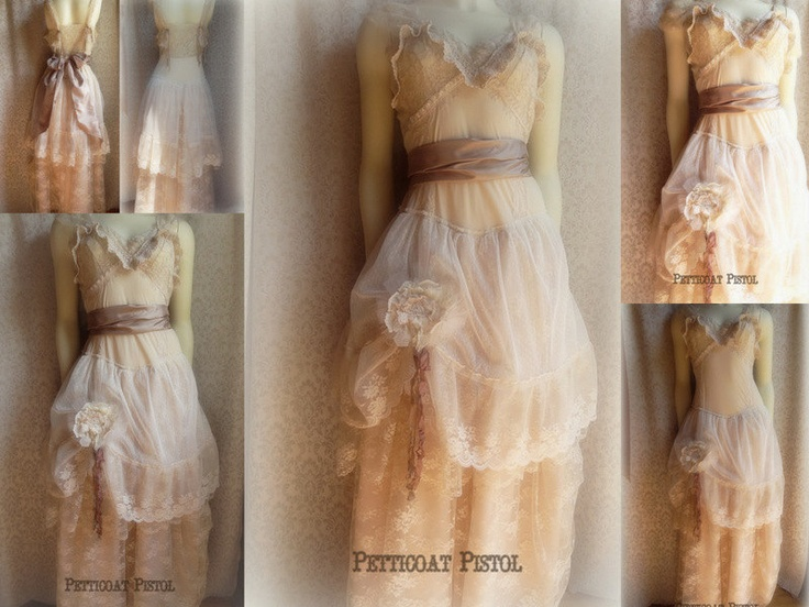 Cream vintage inspired wedding dress altered slip one of a kind