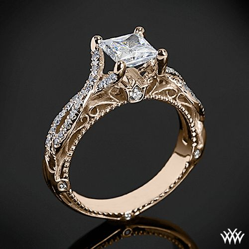 Rose Gold Verragio Pave Twist Diamond Engagement Ring from the Venetian Colle