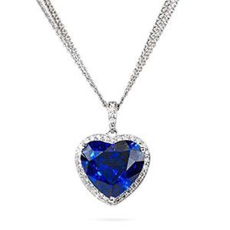 CDC Certified Blue Sapphire & Diamond Heart Cut Shape ...