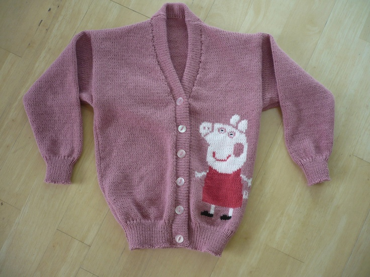 George Pig Knitting Pattern Jumper : Peppa Pig Cardigan Knitted to Order Age 1, 2, 3, 4, 5 & 6