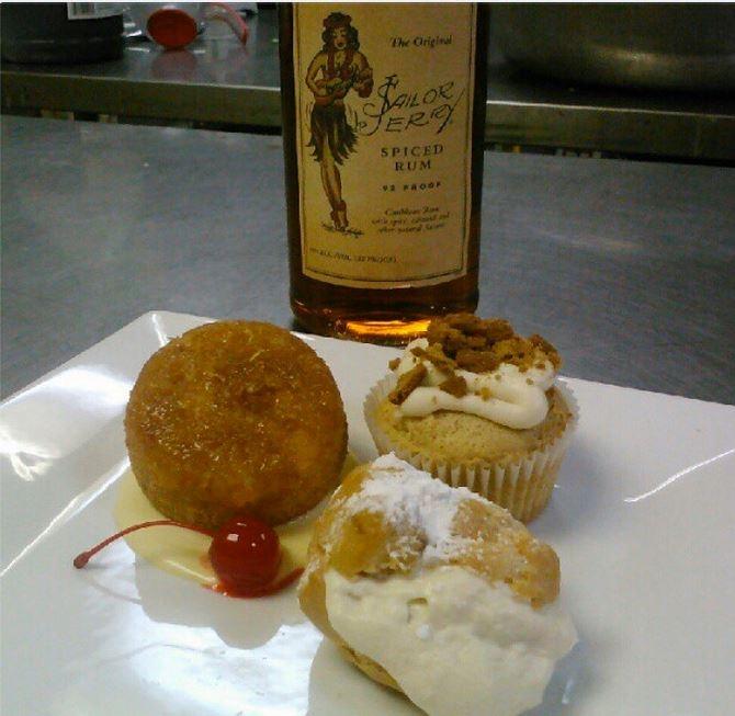 rum cake w/ mango lemon mascarpone sauce • cinnamon rum cupcake