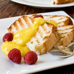 Grilled Angel Food Cake with Lemon Curd...grilling gives the cake a ...