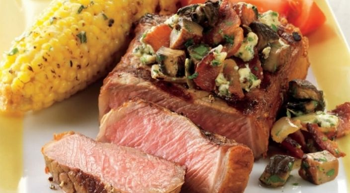 """STRIP STEAKS WITH MUSHROOMS, BACON, AND BLUE CHEESE: ~ From: """"Weber ..."""
