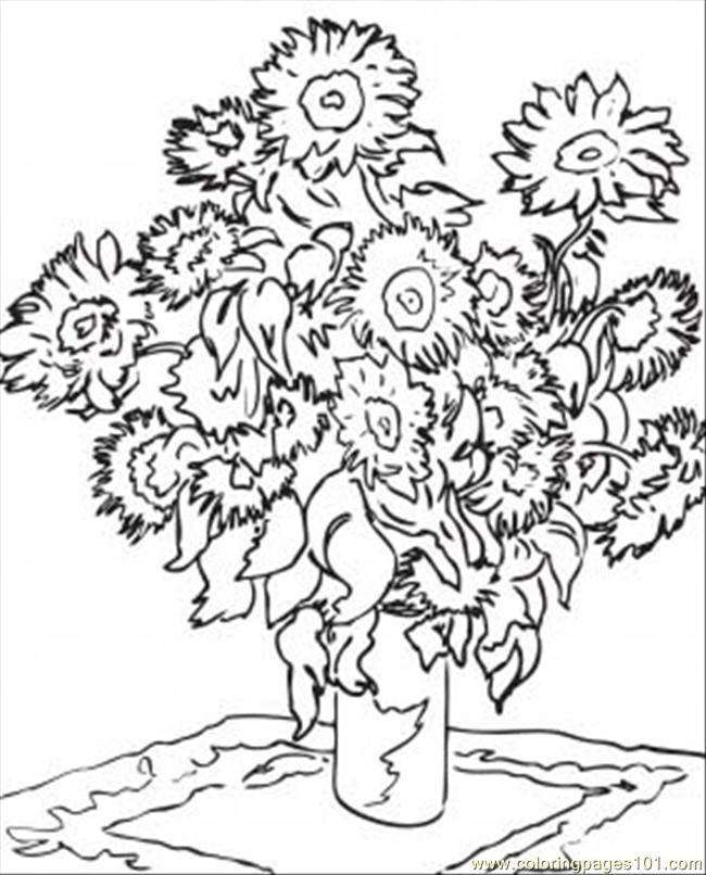 Sunflowers Printable Van Gogh Teaching Pinterest Gogh Sunflowers Coloring Page