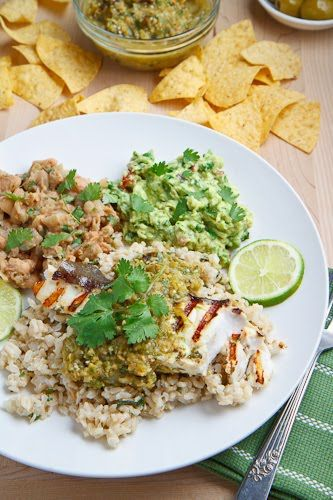 Green Olive Salsa Verde with Cilantro Lime Grilled Halibut