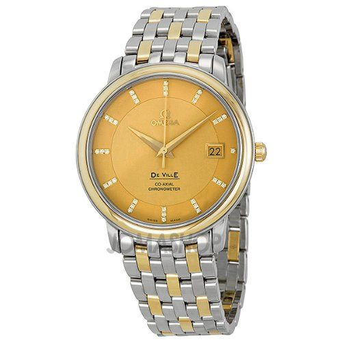 19% Off was $7,000.00, now is $5,673.02! Omega DeVille Prestige Champagne Diamond Dial Steel and Yellow Gold Mens Watch 4374.15
