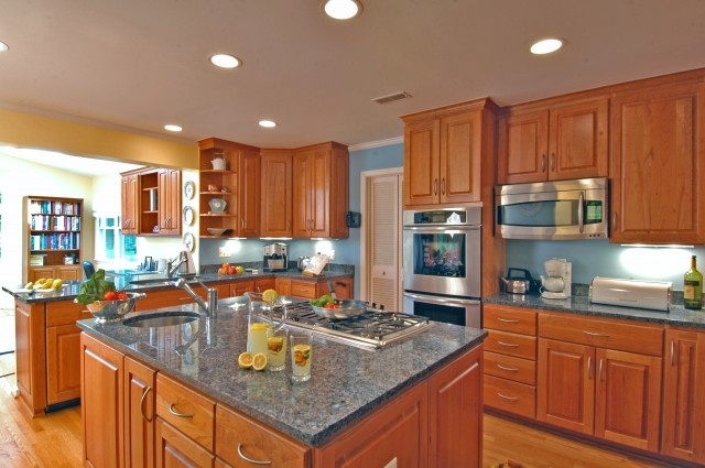 Bright Blue Walls With Honey Cabinets Kitchen amp Dining