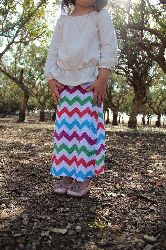 Toddler girl maxi skirt long skirt chevron maxi skirt