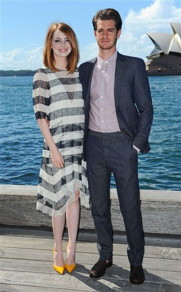 "Emma Stone and Andrew Garfield attend a photocall for ""The Amazing Spider-Man 2"" at The Park Hyatt Hotel in Sydney on March 20, 2014."