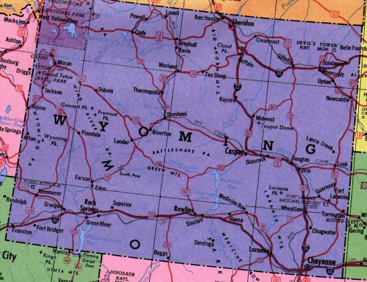 Map Of The State Of Wyoming  Have Trailer Will Travel
