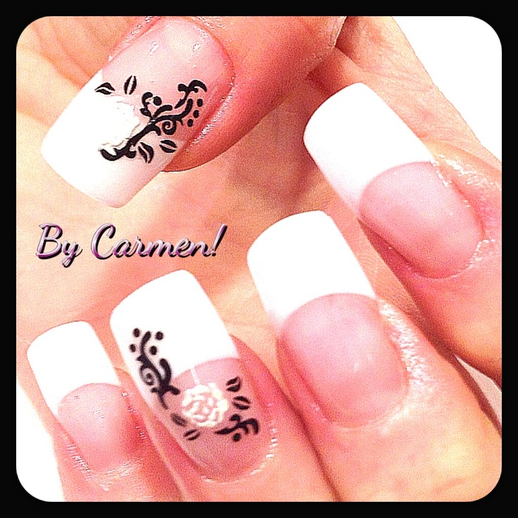 French manicure with decoration | Uv gel nails | Pinterest
