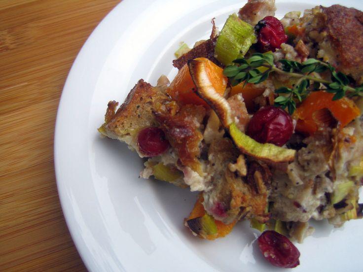 Butternut Squash and Leek Bread Pudding   Recipe