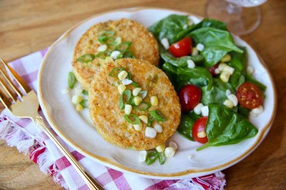Sweet Corn Cakes with Goat Cheese | Yummy Foods | Pinterest