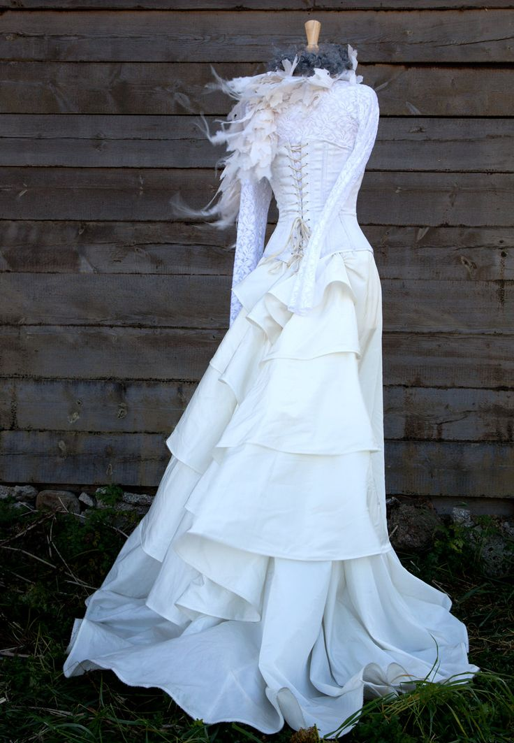 Wedding dress noce with lace top boned corset and silk for Wedding dress with corset top
