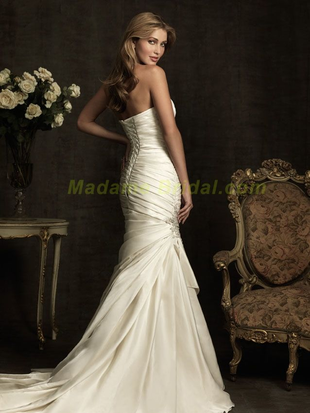 Allure Bridals -Simple and sophisticated. This stunning dress is created from rich satin.    Free Shipping, No Tax and up to 300.00 dollars worth of bridal accessories!  In stock, call us today :1-877-731-8588 www.madamebridal.com