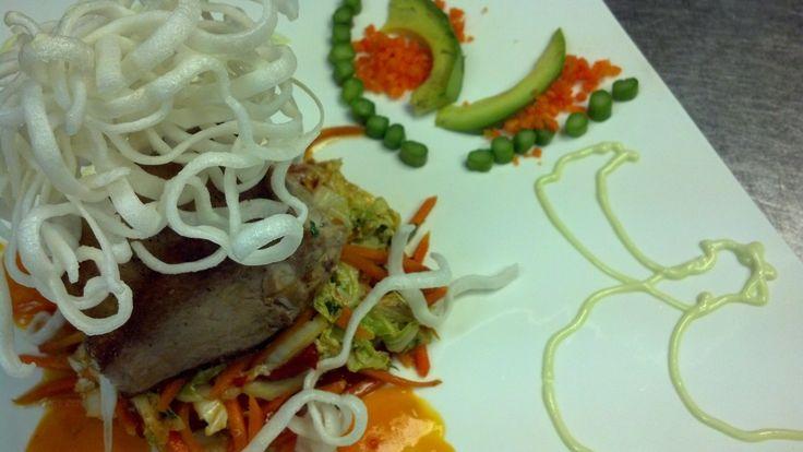 Seared Tuna Steak - papaya ginger sweet chili sauce, sautéed napa ...