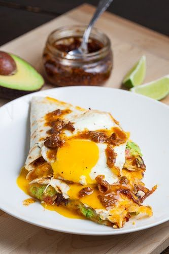 ... Guacamole Quesadilla topped with a Fried Egg and Bacon Jam Vinaigrette