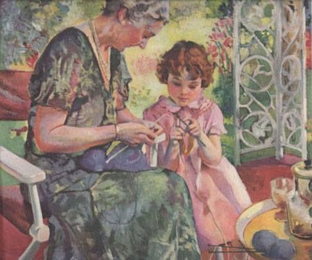 Knitting lesson Needlework and Knitting in Art Pinterest