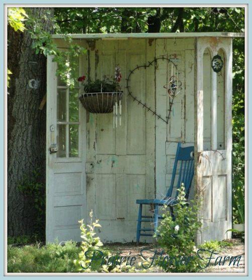 Outdoor 'nook' made from old doors