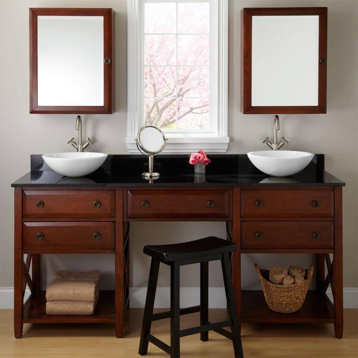 Bathroom vanity with makeup counter